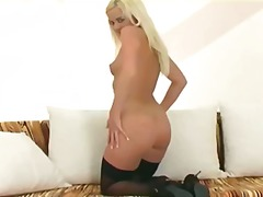 culottes, oral, nylons, strip, blondes, bas, excitation