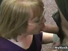 girl-on-girl, glasses, facial, mature, one, cumshot, oral-sex, blonde, blowjob