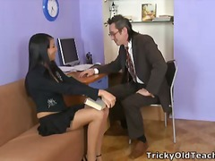 Jenny was in the teacher's office and helped him to pick up the papers, but soon he took off her panties and drilled her wet cunt.