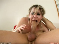 oral, blowjob, monster-cock, handjob, deepthroat, cumshot, facial, white, amateur, tattoo, natural-boobs, cum-swallow