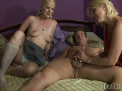 blonde, threesome, ass-to-mouth, naked, hard, ffm, hand-job