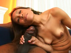 oral, cock-riding, shaved, brunette, small-tits, latin, nipples, big-tits, blowjob, braces, interracial