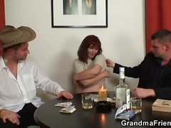 Two guys nailed the mature redhead