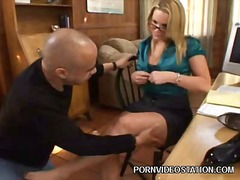 hardcore, babe, secretary, footjob, glasses, couple, pornstar, office, blonde, milf