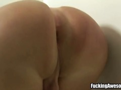 Carla novaes sucks a big green dildo while playing on her cock. later uses the dildo to fuck herself on the ass.