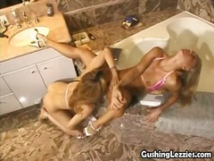 Sexy blondes turn the bathroom in a jizz gushing orgasm paradise