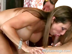 Nasty divorcee sucking big black dong
