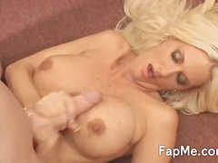 pleasure, blonde, horny, nice, guy, smoking, titjob