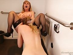 oral, ass-licking, couple, stockings, toilet, pussy-eating, lesbian, hardcore, pornstar, garter, hd
