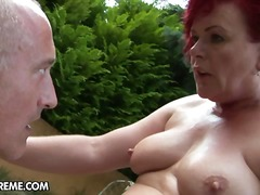 old, reverse, granny, blow, doggy-style, red-head, redhead, doggys, outdoors, hand-job, girl-on-girl, hard, fatty, oral