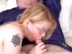glasses, couple, blowjob