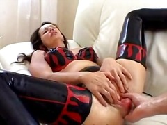milf, mature, analplay, latex, brunette