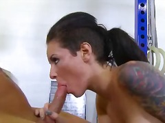blowjob, fingering, doggystyle, big-tits, butt, tattoo, hardcore