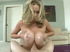 oil, milf, handjob, nipples, big-tits, titjob, blonde, babe