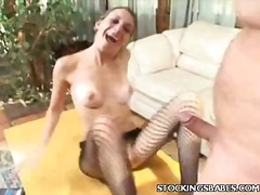 Bj, Nylon, Bunette, Hand Job, Fetish
