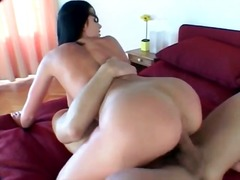 Raven haired hottie with gorgeous round ass fucked hard