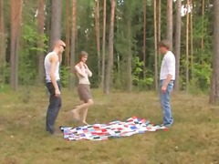 forest, russian, threesome, teen