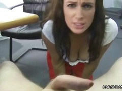 Nasty office girl dominates her boss and gives some cbt and handjob
