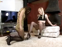 masturbation, nylons, oral, brunette, blonde, lesbian, kissing, pantyhose