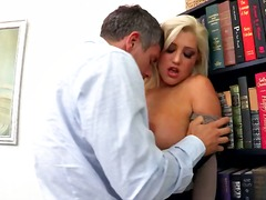 hardcore, boobs, office, blonde, babe, couple, stockings, tattoo,