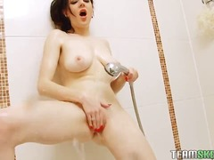 masturbation, boobs, shaved, babe, brunette, booty, voyeur, amateur, bathroom, solo