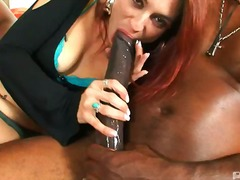 oral, blowjob, mask, redhead, milf, big, black, interracia, hardcore, cock