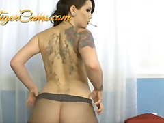 smoking, kinky, brunette, ass, fetish, pantyhose, cigarette, model, tattoo, booty