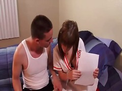 Hot cheerleader knows how to suck a big cock