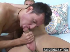 Two horny straight studs sucking each other for cash