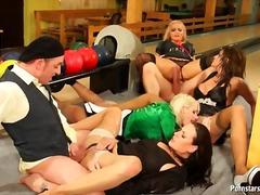 Pissing and cunt fucking in a clothed orgy