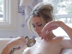 Erotic lesbian tease in the bathtub