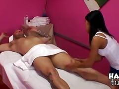 massagem, asiático, mamas, jerking