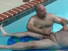 handjob, fat, outdoors, bear