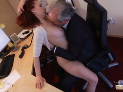 old, handjob, mouthful, secretary, deepthroat, creampies, kissing, redhead, mature, hardcore