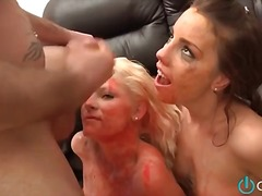 Messy food play and deepthroat face fucking