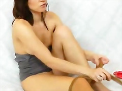 internal, vagina, cunnilingus, pussy, legs, insertion, nylons, fisting, close, pantyhose, clit, tight, redhead, finger, fetish, juicy, solo, soles, upper, shaved, foot