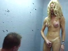 Sexy blonde drills guy in the prison