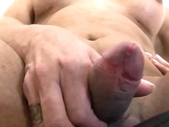 handjob, stroking, brunette, shemale, big ass, solo, ejaculation, small, penis, masturbation, jerking, monstercock, big