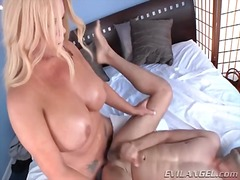 Chubby tranny drives cock into his ass