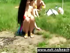 lick, trio, public, cunnilingus, lesbian, outdoors, swingers, bisexual, nudism, threesome