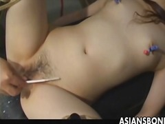 Asian serf has vagina filled by jizz