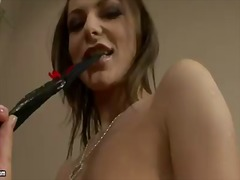 Busty florina rose enjoys having her shaved cunt deep masturbated in nasty solo