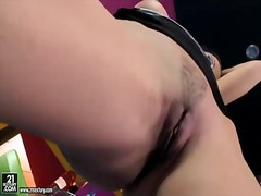 Sweet babe juditta plays with her naughty and trimmed pussy and gets pleasure