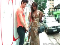 Tranny hookers suck his dick outdoors