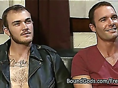 Tied up gay asshole fucked by his dom