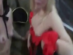 4 hot sluts in halloween orgy fucking all the lucky cocks