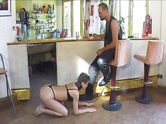 Hot brunette chick enjoys being a slave for horny dude