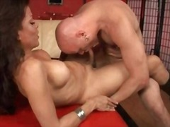 Tranny in boots and her man fuck each other