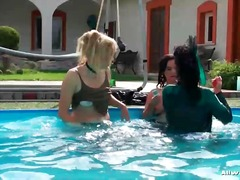 3some, hardcore, fetish, outdoors, pool, bath, lesbian