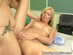 Amy moore acquires her pussy filled with a big juicy dick on a classroom desk